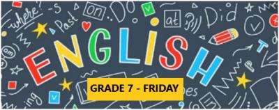 English Language Program – Grade 7 – Friday Evening – Online